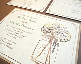 Wedding Invitation Suite / Rustic Wedding Invitations, Mason Jar with Hydrangeas - Deposit
