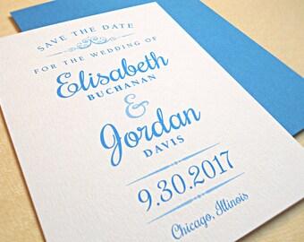 Save the Date Wedding Card, Modern Vintage Design
