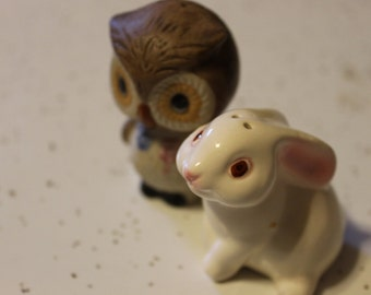 Owl and Bunny Rabbit Salt and Pepper Shakers Pair