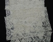 Nice Set of 8 Ecru Lace Placemats, Grapes, Leaves, 11 x 16""