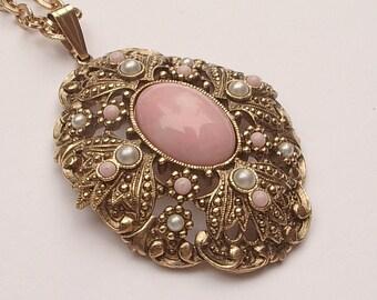 vintage Avon Queen Anne's lace pendant necklace, pink pendant necklace, Victorian style, pink wedding necklace, bridesmaid jewelry