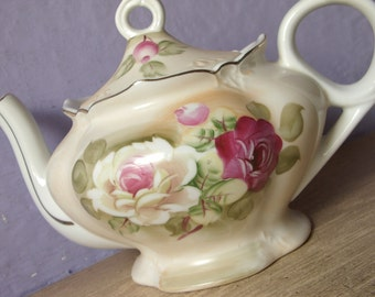 Vintage Lefton China Green Heritage musical teapot, Tea for Two, hand painted teapot, pink roses teapot, porcelain teapot, Japanese teapot