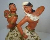1950's Chalkware Male & Female Polynesian / Arabian Dancers - Universal Statuary
