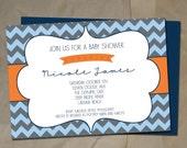 Baby shower Invitation- Orange and navy blue grey chevron Printable Digital design Baby boy shower