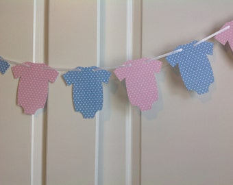 Gender Reveal pink and blue Onesie banner with white polka dots Birthday Party Twins Baby shower Custom colors