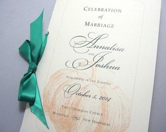 Fall Wedding Ceremony Program Booklet Autumn Wedding Orange Pumpkin  Custom Ceremony Booklet