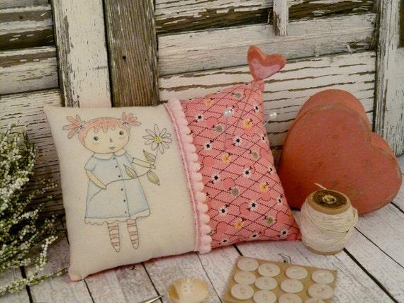 Raggedy Anne doll pincushion pin keep -  Pink ball trim ooak pin cushion pinkeep