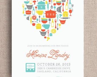 Kitchen Theme Bridal Shower Invitation (Digital File, Printable File)