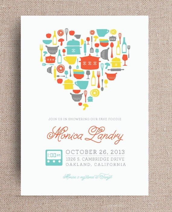 Items similar to kitchen theme bridal shower invitation for Themed bridal shower invitations