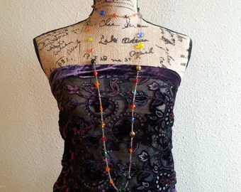 Long and Colorful Glass Bead and Chain Necklace by Afterwork