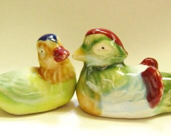 Vintage Pair of  Ducks- figurines -Shekwan mudware- Bonsai and Aquarium decor