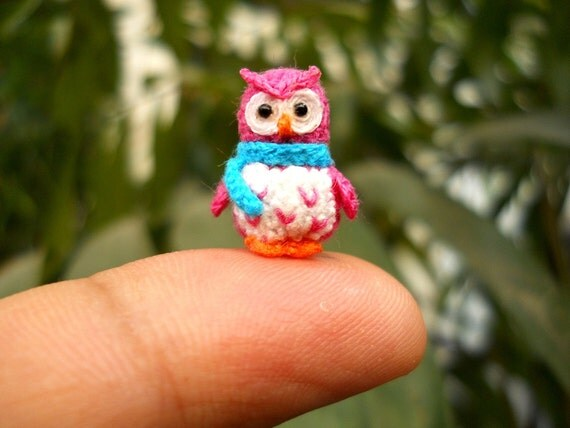 Pink Owl Blue Scarf  - Micro Crochet Miniature Bird - Made To Order