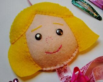 Felt Barrette Organizer Little Girl with Pink Ribbon