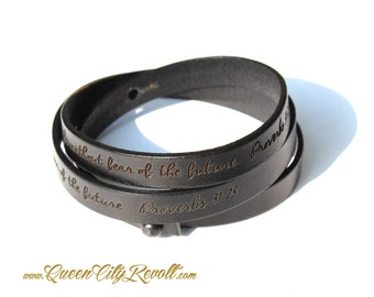 Personalized Leather Wrap Bracelet, Black Leather, Custom Script Text, Adjustable