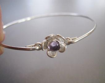 AMETHYST FLOWER bangle bracelet