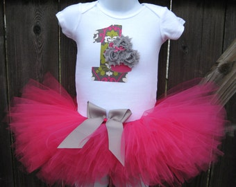 Baby's First Birthday Pink and Grey Cupcake Tutu Set and Matching Headband | Birthday Photo Prop, Party Dress