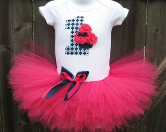 Baby's First Birthday Navy and Pink Cupcake Tutu Set and Matching Headband | Birthday Photo Prop, Party Dress