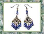 Sapphire Blue Chandelier Earrings (Pierced or Clip-On)