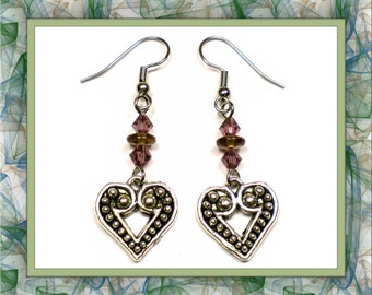 Two-Tone Heart Earrings (Clip-On by Request)