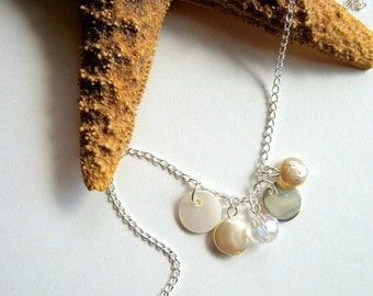 By the Sea Necklace - ocean, beach, freshwater pearl, coin pearls, seashell, nautical, everyday casual, natural, modern, Summer, ooak, gift