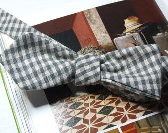 Bow Tie - diamond point / khaki check bowtie / self tie, freestyle - self tie men's - adjustable bowties - just for men
