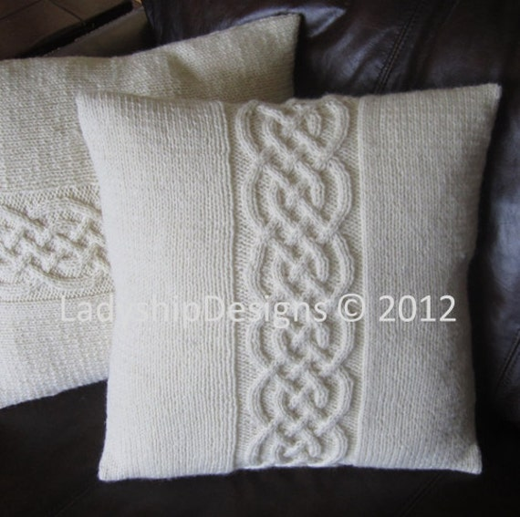 Cable Knit Sweater Pattern Free : Cable knit pillow cover pattern, knit pattern pdf, Celtic knot cable 16x16 an...