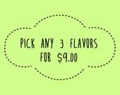Pick any 3 Lip Balm Flavors