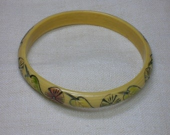 Celluloid Bangle Bracelet with Hand Carved and Colored Floral Motifs