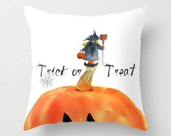 Indoor pillow cover with pillow insert, Indoor pillow cover, Trick or Treat Little Witch