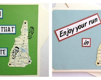 New Hampshire - Run (or RAN) That State, Happy Trails or Enjoy Your Run Handmade Running Greeting Card for Marathon, Half-Marathon Runners
