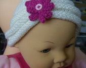 Knit Hat With Flower Infant Baby Girl Hat