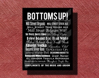 Wedding Reception Bottoms Up Bar Menu Sign