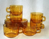 Glass Demitasse Cups & Saucers Vintage Vereco Brand REDUCED In Price Amber Color Glass  Set of 6  Made in France
