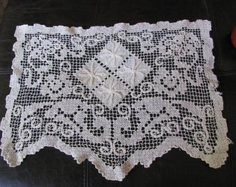 "Wonderful Handmade Crocheted Rectangle Doily 15"" x 11"" Inch"