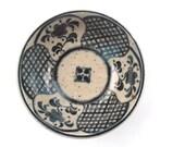 Vintage Dark Blue Floral Bowl Miniature Japanese Indigo Clay Pottery Dipping Saucer Asian Flower Ceramic Sauce Relish Condiment Mamezara