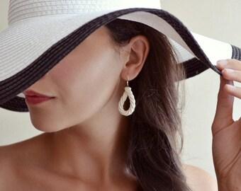 Sailor's rope - white rope earrings - ceramic rope dangle earrings - 925 silver ear-wires - in bone white - ceramic jewelry Jasmin Blanc