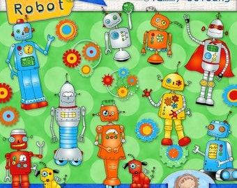 Robot Clip Art *Superhero Robot Clipart* Digital retro robots, robot images, robot graphics for invitations, scrapbooks, greeting cards