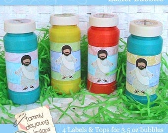 Religious easter printable for kids christian easter stickers easter bubble labels easter party favors religious printable jesus wrapper for kids easter gifts negle Gallery