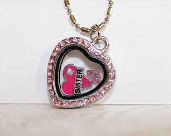 Floating locket, memory locket, glass locket, Heart with rose rhinestones, locket necklace, personalized locket, Personalized Memory Locket
