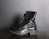 Black Leather Chunky Heeled Combat Boots / 6 / 36