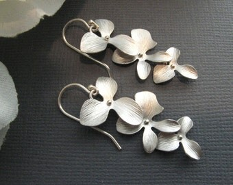 Silver orchid earrings Silver flower earrings Three flower earrings Drop earrings Long dangle Bridal earrings Bridesmaid gift Christmas gift