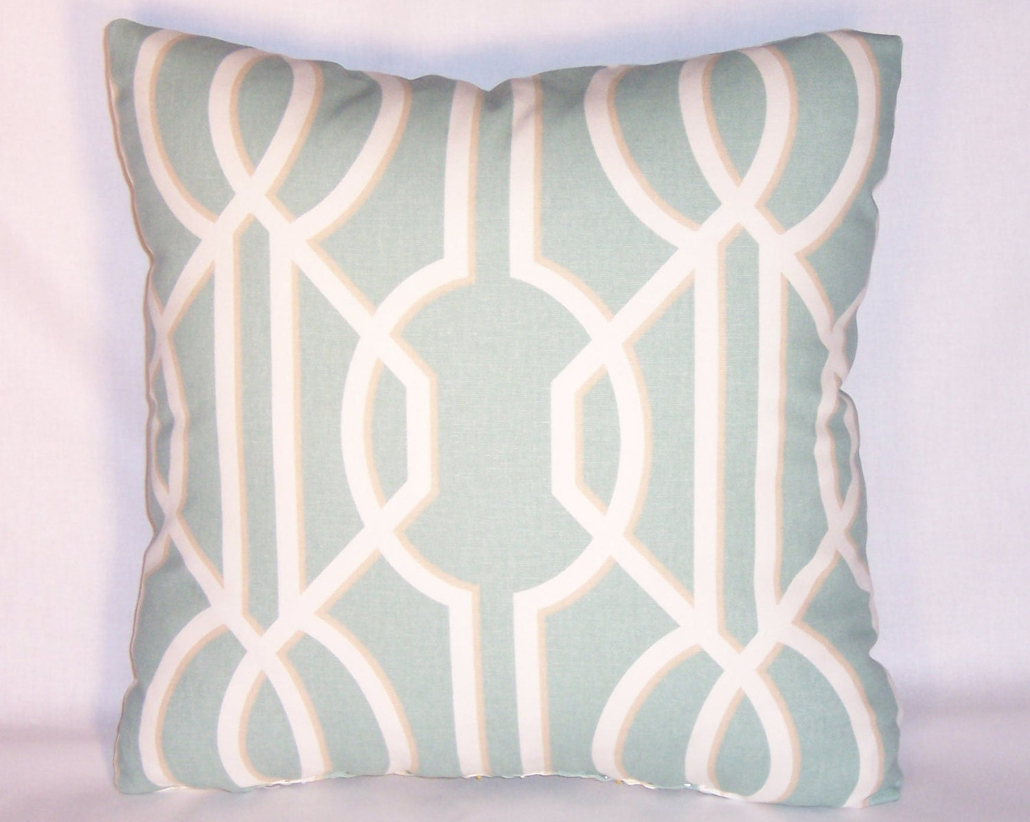 Pale Aqua Throw Pillow : Pale Aqua Blue Lattice Throw Pillow 17 Inch Square Cotton