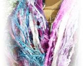 Designer Fringe Spring Scarf with Sari ~ Adele ~ Multicolor