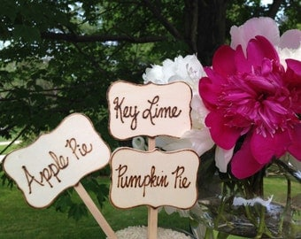 Rustic Pie Marker Wedding Cake Topper Pie Bar Dessert Bar Buffet Markers Country Barn Decor