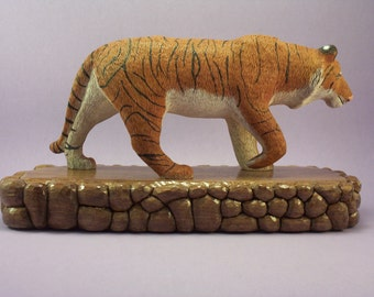 Hand carved wood tiger wildlife decorative woodcarving art animal sculpture home decor collectible hand made gift by Old Bear Woodcarving