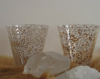Mid Century mod speckled glasses x2