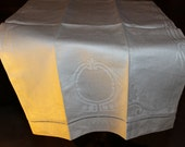 Vintage White Patterned Linen Hand Towel With Intricate Design
