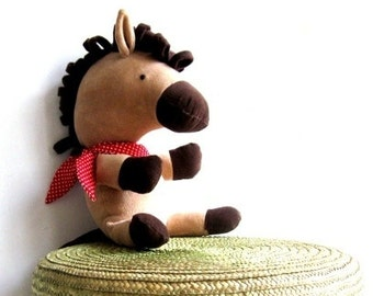 HORSE toy stuffed horse rag doll soft toy stuffed toy horse plushie horse softie stuffed animal handmade toy brown 45 cm 17.7""