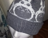 Knitted Beanie Pom Pom hat Totoro Pewter/white adult made to order any size or color