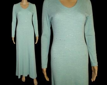Vintage 1970s Dress .  Maxi  .   Rhinestones  .  Femme Fatale .  Garden Party .  Bohemian  .  Pinup Bombshell